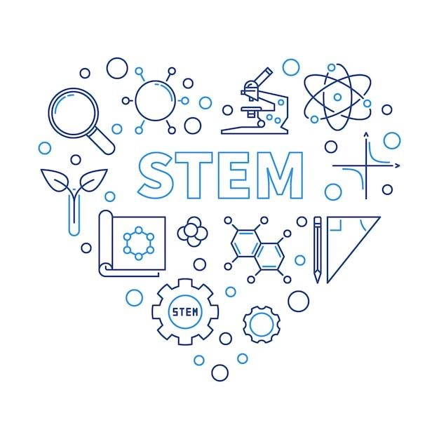 Ilustración del corazón stem en estilo de línea fina Vector Premium