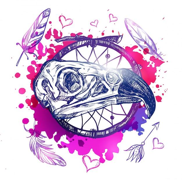 Ilustración de cráneo águila boho vector gratuito