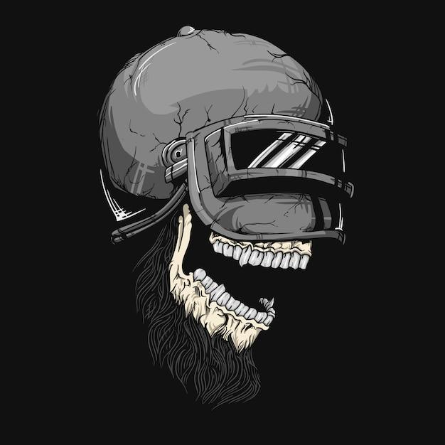 Ilustración del cráneo del casco Vector Premium