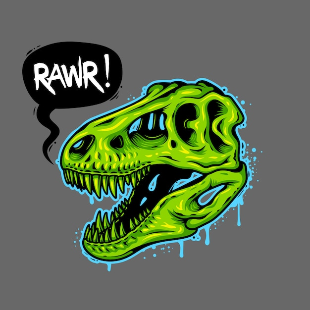 Ilustración del cráneo de dinosaurio con burbuja de texto. tiranosaurio rex. estampado de camiseta vector gratuito
