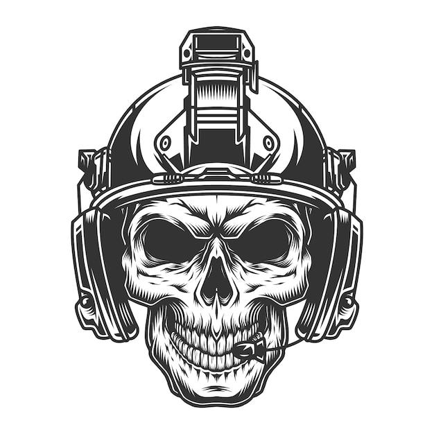 Ilustración de cráneo militar vintage vector gratuito