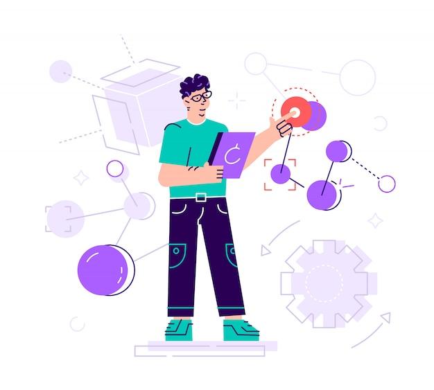 Ilustración creativa el científico realiza estudios de laboratorio y estudia los datos estadísticos de los resultados. compuesto malekul y átomos. tecnología moderna aprendizaje automático, artificial Vector Premium