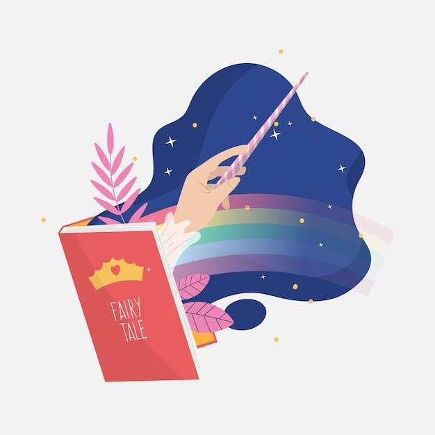 Ilustración creativa de cuento de hadas del libro Vector Premium