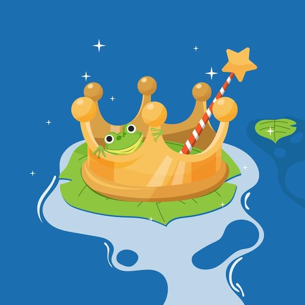 Ilustración creativa de cuento de hadas de rana Vector Premium