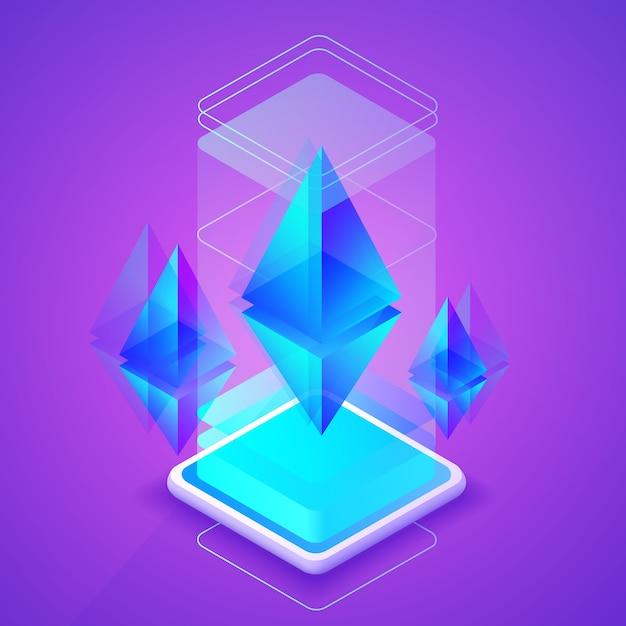 Ilustración de cryptocurrency de ethereum de la plataforma de blockchain para la granja minera del éter. vector gratuito