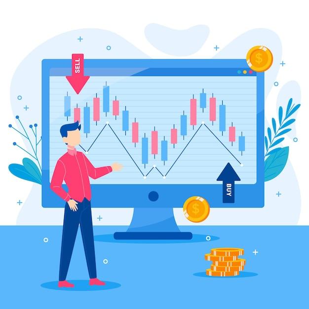 Ilustración de datos de la bolsa de valores Vector Premium