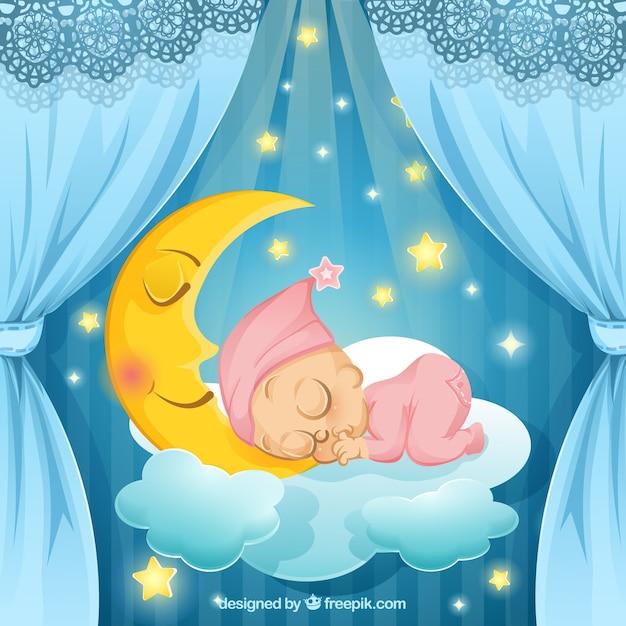 Ilustración de bebé durmiendo Vector Gratis