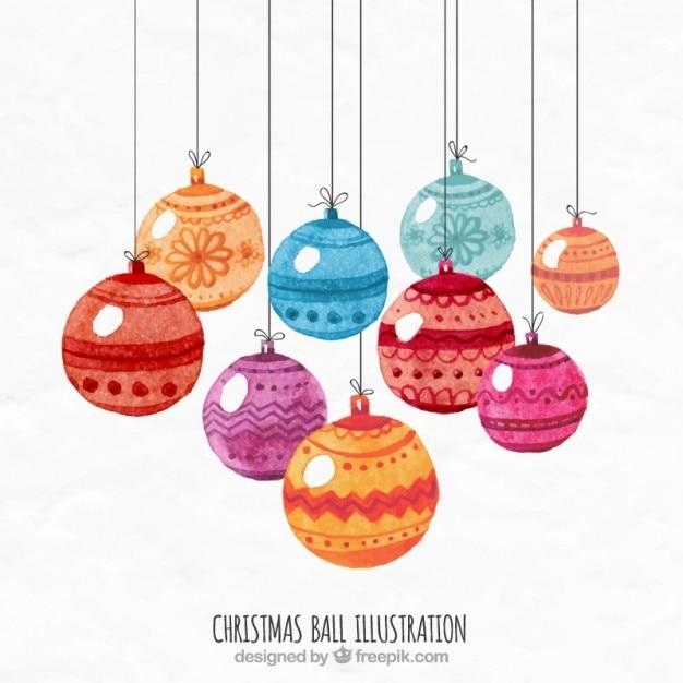ilustracin de bolas de navidad pintadas a mano vector gratis