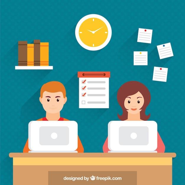 Ilustraci n de compa eros de trabajo en una oficina for Cursos de la oficina de empleo