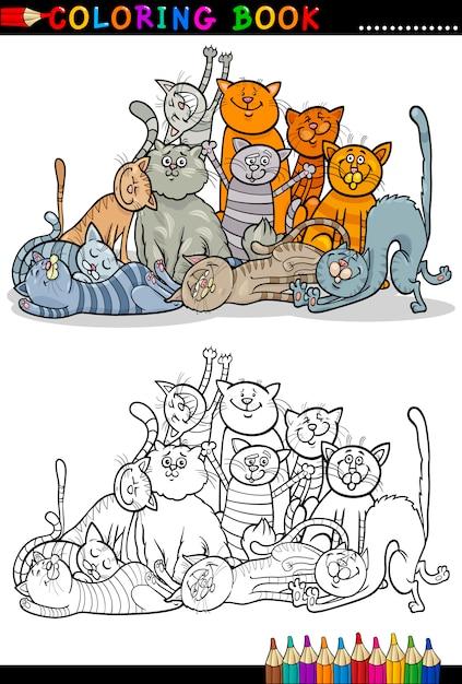 Ilustración de dibujos animados de gatos para colorear libro ...