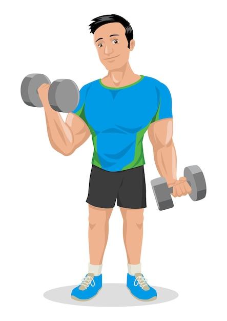 Ilustración de dibujos animados de una figura masculina muscular que ...