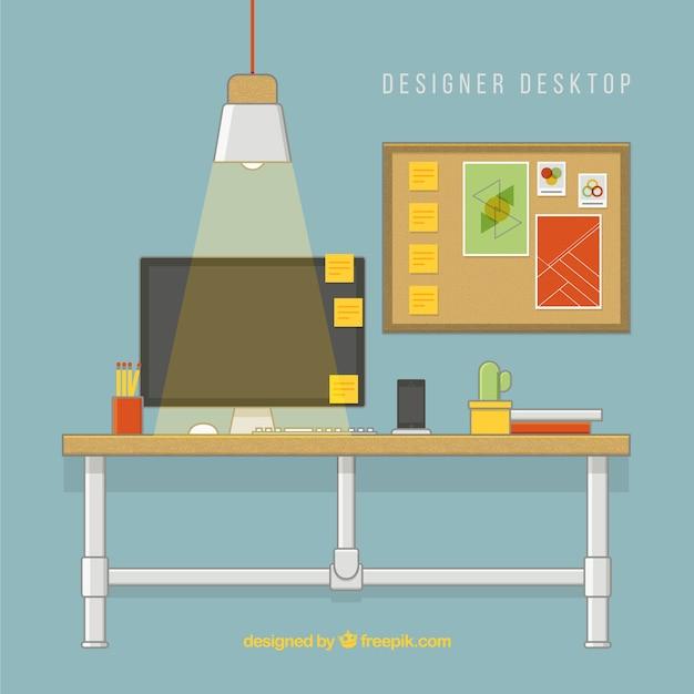 Ilustraci n de escritorio de dise ador descargar for Disenador de cocinas online gratis