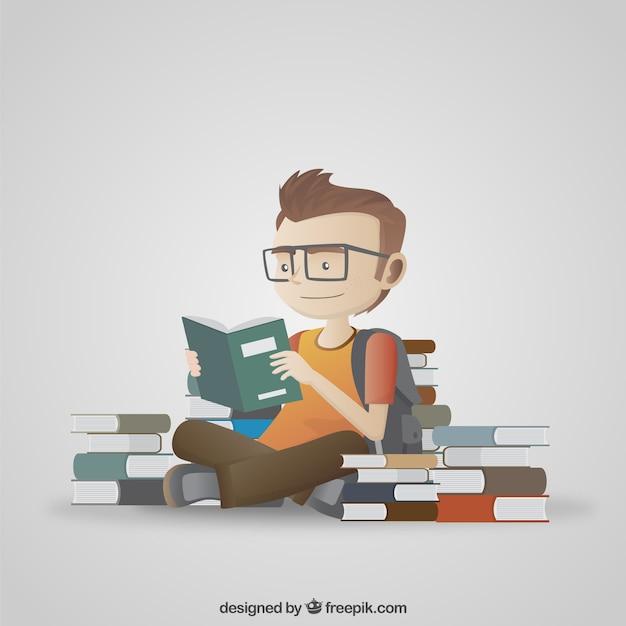 Ilustración de estudiante leyendo Vector Gratis