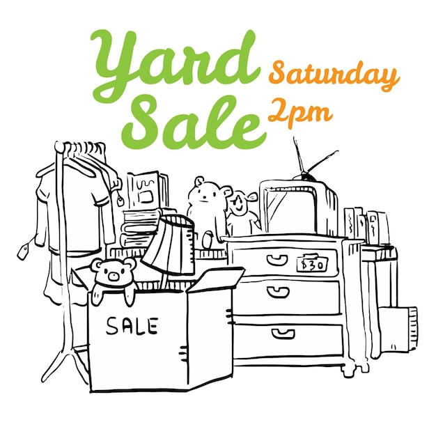 Ilustración de flyer blanco y negro de la venta de la yarda ...