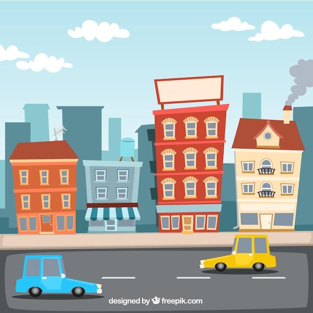 Ilustraci n de la ciudad de dibujos animados descargar for Restaurant builder software