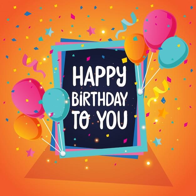 Ilustración de la tarjeta del feliz cumpleaños del tema del globo Vector Gratis