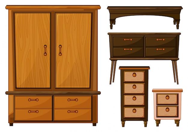 Ilustraci n de muebles hechos de madera sobre un fondo for Mueble animado