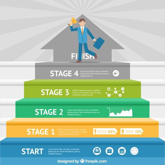 Ilustración de progreso de hombre de negocios Vector Premium