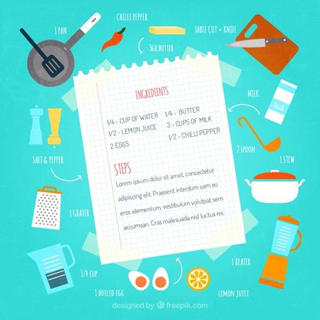 Ilustración de receta de cocina | Descargar vectores gratis