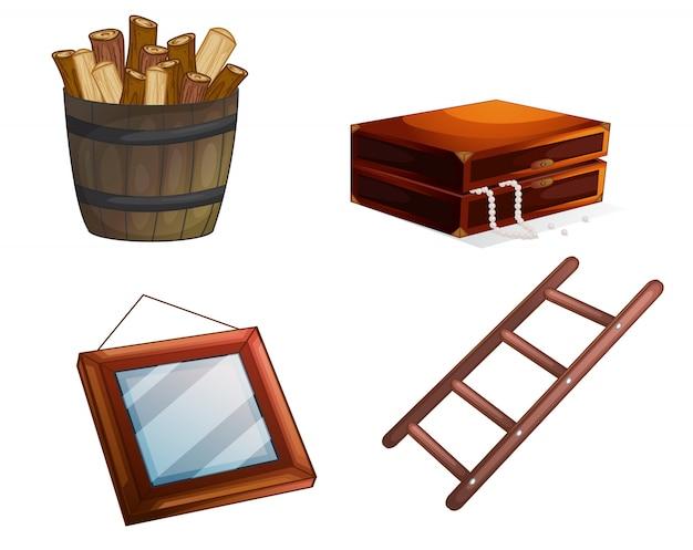Ilustraci n de varios objetos de madera sobre un fondo for Objetos hechos con marmol