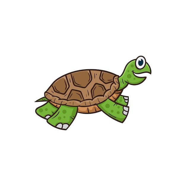 Ilustración de vector de dibujos animados linda tortuga | Descargar ...