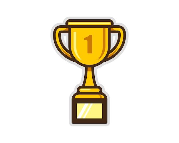 Ilustración De Vector De Icono De Copa De Trofeo De Oro