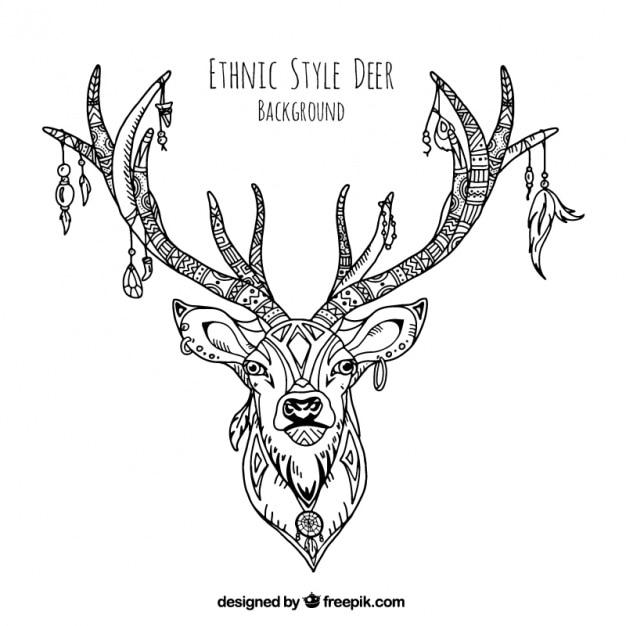 Ilustración decorativa de ciervo étnico dibujado a mano vector gratuito
