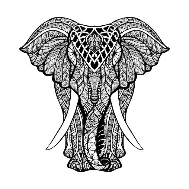 Ilustración decorativa del elefante Vector Premium