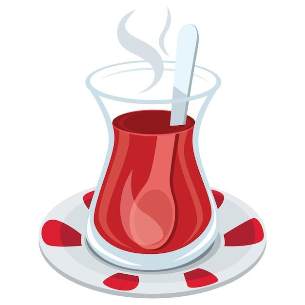 Ilustración del tradicional vaso de té turco | Descargar Vectores ...