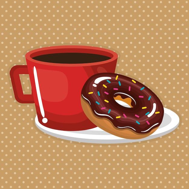 Ilustración de deliciosa taza de café y donas vector gratuito