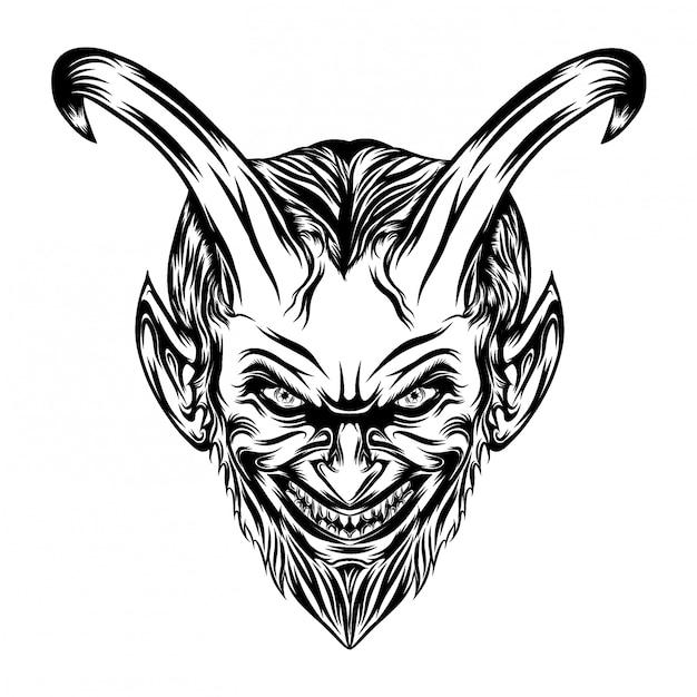 Ilustración de demonios con cara de miedo y ojos deslumbrantes. Vector Premium