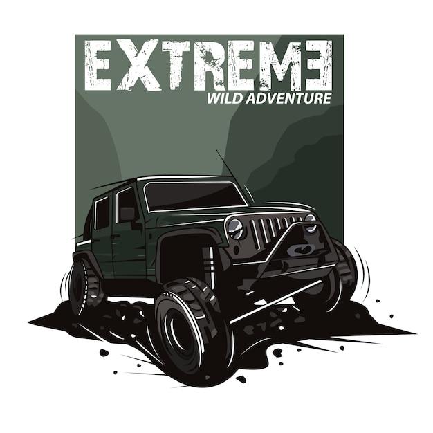 Ilustración de deporte extremo con coche jeep en las montañas Vector Premium