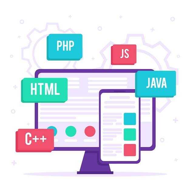 Ilustración de desarrollo de aplicaciones vector gratuito