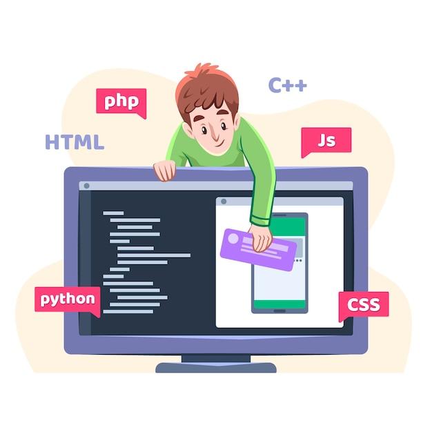 Ilustración de desarrollo de aplicaciones Vector Premium