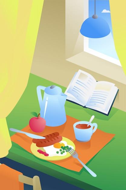 Ilustración de desayuno en el interior. café, huevos fritos con salchichas y guisantes. Vector Premium