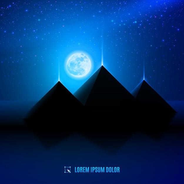 Ilustración del desierto de noche azul Vector Premium
