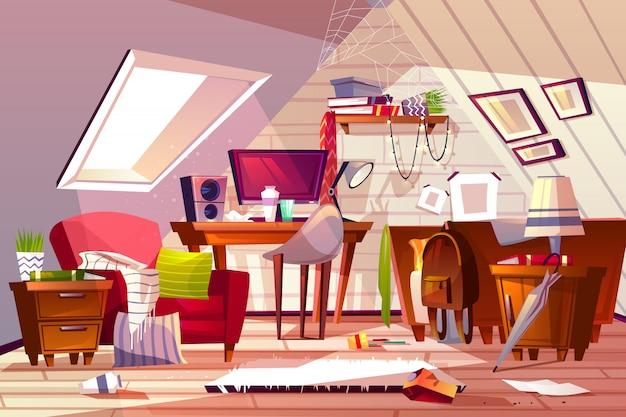 Ilustración desordenada del interior del sitio. dibujos animados de buhardilla o ático plana en el desorden. vector gratuito