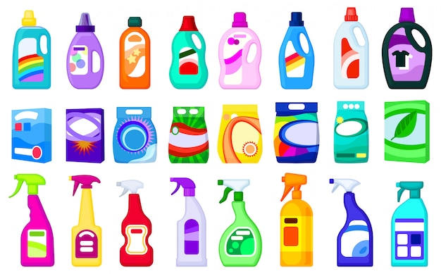 Ilustración detergente sobre fondo blanco. conjunto de dibujos animados icono de jabón en polvo. conjunto de dibujos animados icono detergente. Vector Premium