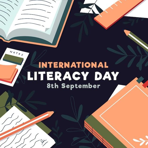 Ilustración del día internacional de la alfabetización con libros Vector Premium