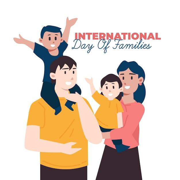 Ilustración del día internacional de la familia plana vector gratuito