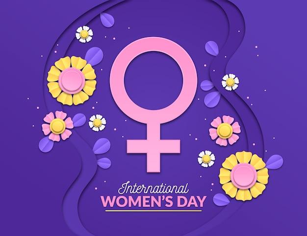 Ilustración del día internacional de la mujer con flores y símbolo femenino vector gratuito