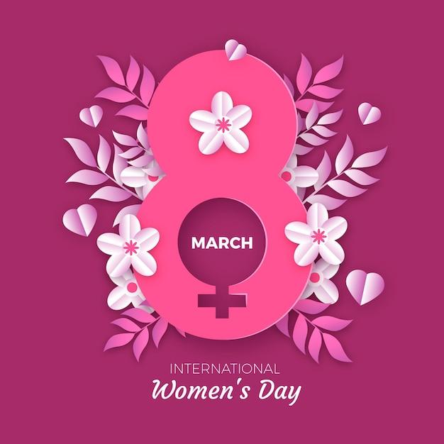 Ilustración del día internacional de la mujer con símbolo femenino y flores. vector gratuito