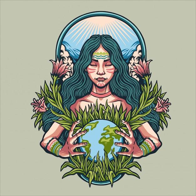 Ilustración del día de la madre tierra Vector Premium