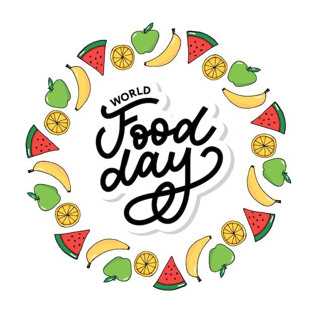 Ilustracion Del Dia Mundial De La Alimentacion Adecuado Para Tarjetas De Felicitacion Carteles Y Pancartas Vector Premium