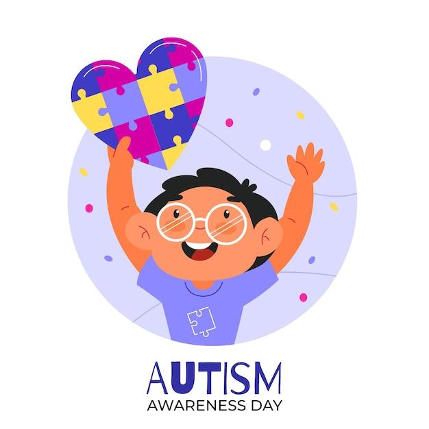 Ilustración Del Día Mundial De Concientización Sobre El Autismo De Dibujos Animados Vector Gratis