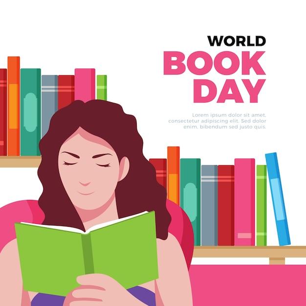 Ilustración del día mundial del libro con lectura de mujer vector gratuito