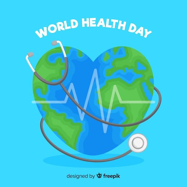Ilustración del día mundial de la salud con mundo en forma de corazón vector gratuito