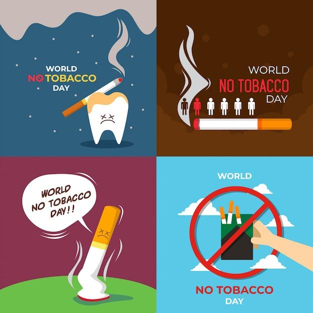 Ilustración del día mundial sin tabaco Vector Premium