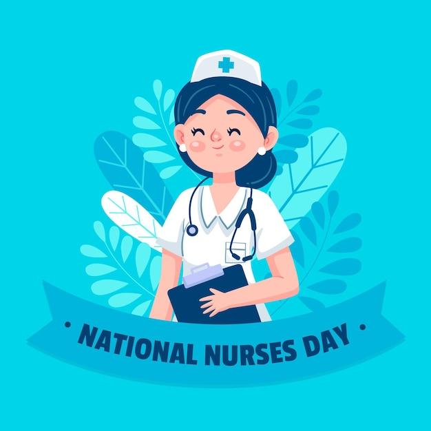 Ilustración del día nacional de las enfermeras de dibujos animados vector gratuito