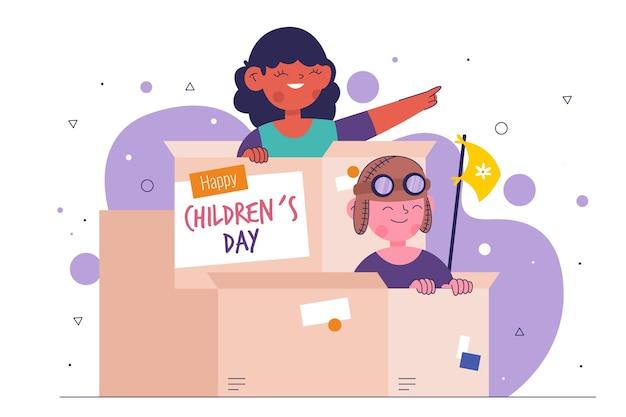 Ilustración del día del niño de diseño plano con niños Vector Premium